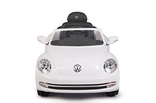 RC Auto kaufen Kinderauto Bild 5: Jamara 460220 - Ride-on VW Beetle weiß 27MHz 6V - Leistungsstarker Antriebsmotor und Akku, Ultra-Gripp Gummiring am Antriebsrad, LED-Scheinwerfer, Fahrertür lässt sich öffnen, Hupe und Sound*