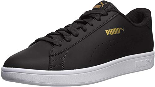 PUMA Men's Smash V2 Sneaker, Black-teamgold-White, 10 M US