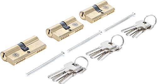 Kraftmann 8092 | Juego de bombillos de cerradura de latón | llaves iguales | 15 piezas
