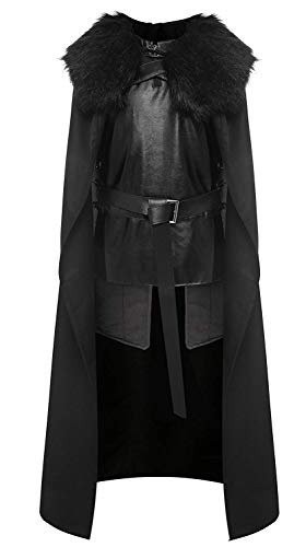 starfun Game of Thrones Night's Watch Jon Snow Cosplay Costume Halloween Full Set Outfit Cape for Adult and Child (X-Large, Black)