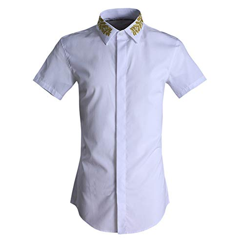 Photo of LIUXING-TUMI Mens Summer Short Sleeve Shirt Embroidery Floral Lapel Collar Button Down Dress Shirt Regular Fit Cotton Shirt Casual Business Work Shirt Blouse Top Size M L XL XXL 3XL