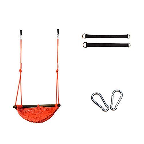 LH's stores Schaukelsitz Sicherheits-Schaukel-Gartenstuhl-Netz-Netz-Kindersitz des Haushaltskindes im Freien und im Freien, Starke Tragfähigkeit Garten im Freien (Color : Orange)