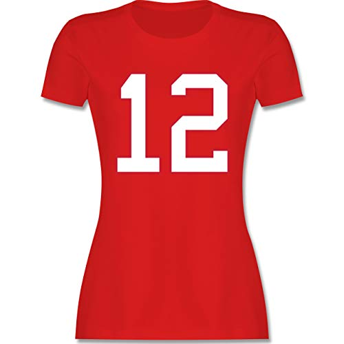 American Football - Football New England 12 - XL - Rot - Footballspieler - L191 - Tailliertes Tshirt für Damen und Frauen T-Shirt