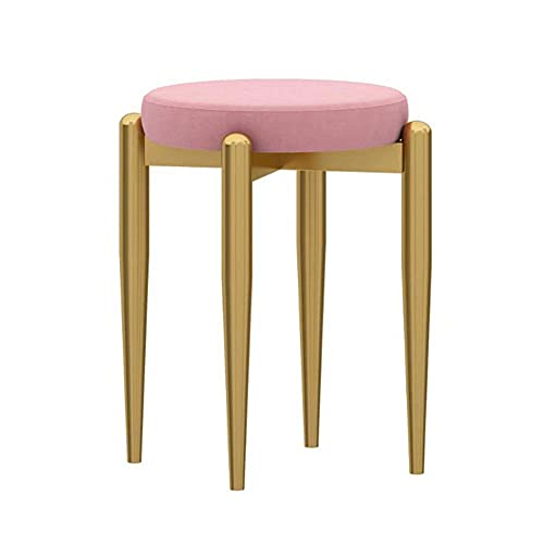 WSDSX Furniture Dining Chair, Home Makeup Stool, Comfortable Conference Reception Chair, Iron Small Apartment Cute Dressing Stool, for Living Room, Bedroom, Office,Pink,41x44cm
