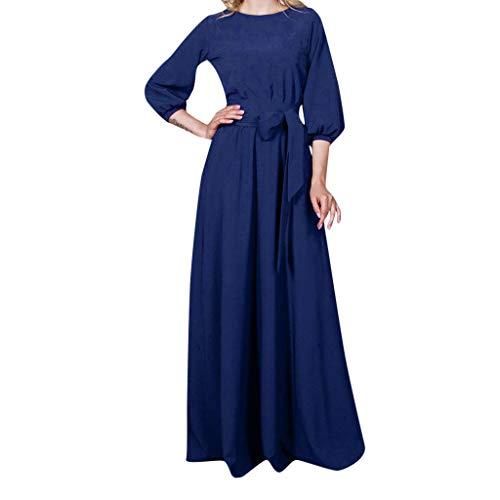 acction Vestido de Fiesta Informal para Mujer Vestidos Largos con Manga Linterna Color sólido Vestido Casual Retro para cóctel Fiesta Noche