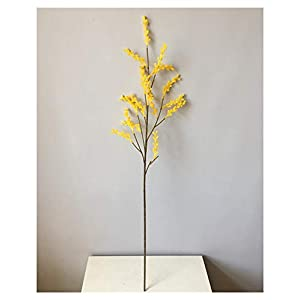Artificial Flowers Artificial Acacia Flowers Yellow Mimosa Spray Cherry Fruit Branch Wedding Party Event Decor Home Table Flower (Color : 16 Forks)
