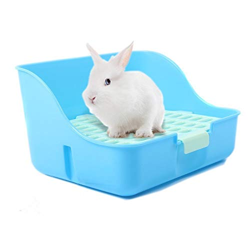 Md trade Rabbit Litter Box Toilet, Plastic Square Cage Box Potty Trainer Corner Litter Bedding Box Pet Pan for Small Animals, Rabbits, Guinea Pigs, Chinchilla, Ferret, Galesaur(Blue)