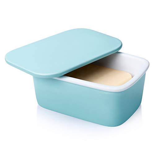 Sweese 320.102 Butterdose mit Deckel, Hochwertig Porzellan Butterschale, für 250 g Butter, Helltükis
