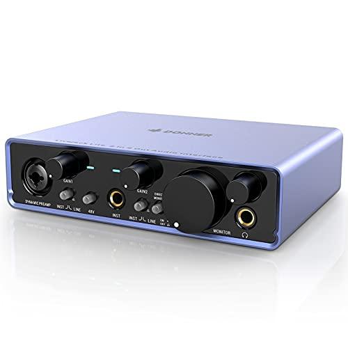 Donner Audio Interface Livejack Lite 2 In 2 Out, Interfaccia Audio USB 24-bit/192 kHz, TRS Bilanciato, Scheda Audio Computer per Registrazione con Amplificatore per Cuffie per PC/Win/Mac