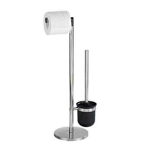 WENKO Piantana portarotolo e scopino WC Parus - Spazzola WC, Acciaio inossidabile, 25.5 x 57 x 16.5 cm, Lucido