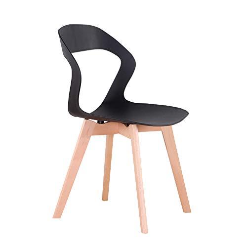 555 Un conjunto de 4 sillas de comedor/sillas de café, calado backrestsolid madera, estructura estable Ocio Silla de comedor