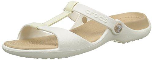 Crocs Cleo III Women, Damen Sandalen, Weiß (Oyster/Gold), 34/35 EU