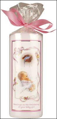 Christening Baptism Baby Girl Candle 6' Gift Wrapped