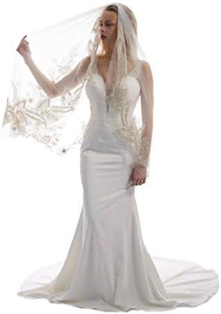 Passat rose gold rhinestone veils brides Floral Lace Wedding Veil ivory beads Bridal veils for product image