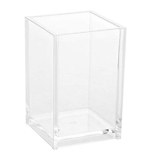 Acrylic Pencil and Pen Holder Makeup Brush Organizer Acrylic Pen Pencil Holder Square Pen Holder (Clear Color)