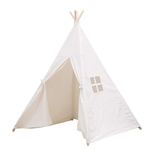 Tents Weiß Solid Color Zelt, Mehrzweckzelt Indian Style Zelt Familien Eltern Kinderspielzelt Girls' Or Boys'Tent (Color : White, Size : 120 * 120 * 145CM)
