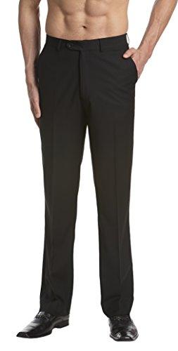 CONCITOR Men's Dress Pants Trousers Flat Front Slacks Solid BLACK Color 32