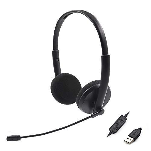 USB-Computer-Headsets mit Mikrofon und Inline-Audio-Steuerung, Geräuschunterdrückung, kabelgebunden, Breitband-PC-Kopfhörer für Business, UC, Skype, Lync, Softphone, Callcenter, Büro, Ultra Komfort