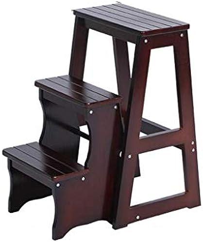 HYYSH Massivholz DREI-Stufen-Leiter Stuhl Indoor Multifunktions-Haushalt Kreative KlapÃleiter Stuhl Dual-Use-Leiter Hocker aufsteigende Treppe (Farbe   Braun)