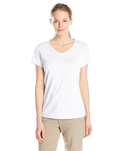 Columbia Women's Tech Trek Short Sleeve Shirt, White, Large