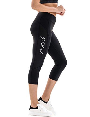 7Goals Women's Stretchy High-Waist Capri Legging, Black, Large