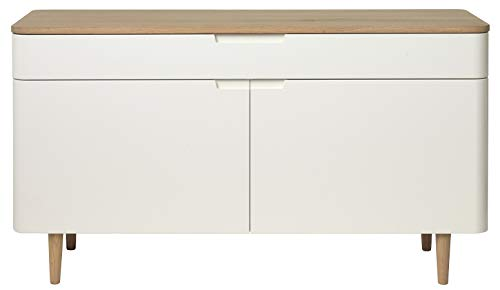 24Designs Dressoir Grindsted 2 Deurs/1 Lade - 140x45x76 - Wit - Eiken White Wash