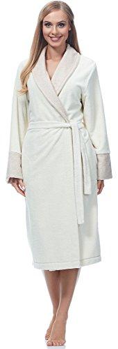 Merry Style Bata Larga Vestidos de Casa Ropa Mujer MSLL1003 (Crudo/Angora, M)