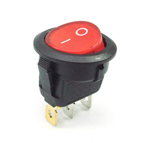 Movilideas 1 Interruptor Redondo Basculante Rojo iluminado ON/OFF 3 polos con luz 220V