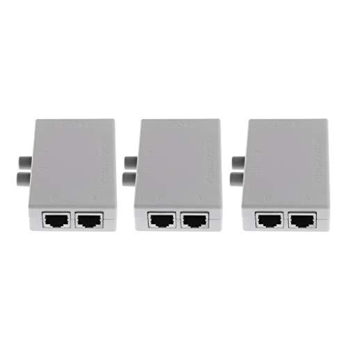 Toygogo 3 Uds 2 Puertos Conmutador de Red Divisor Selector Hub 2-en 1-Salida O 1-en 2-Salida RJ45-2M Push Botton Switcher Box