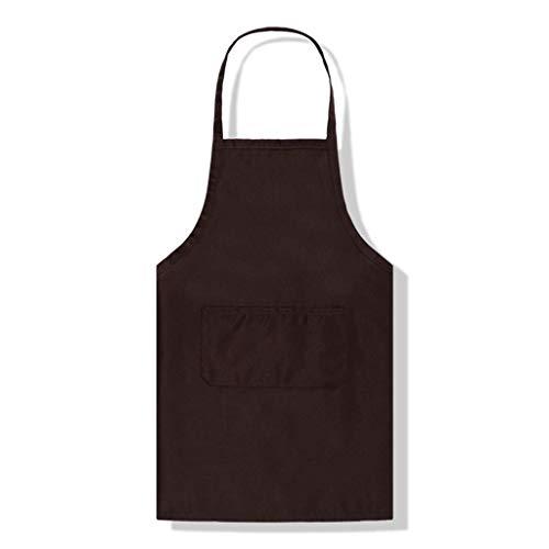 SSB Unifarbene Canvas-Schürze für Männer und Frauen, Küchenschürze mit Taschen, wasserdicht, schmutzabweisend, Kochschürze für Restaurant, Zuhause, Grillen, Rosa, 66 x 76 cm