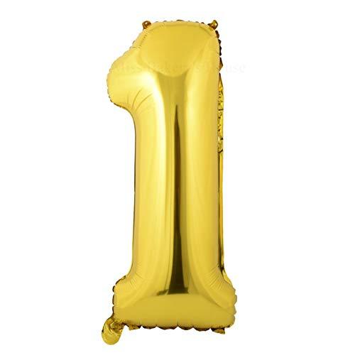 Miss Bakery's House® Ballon Folie Helium Zahl 1 Gold - Deko Geburtstag Party