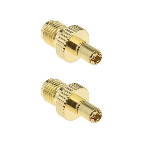 2 x SMA hembra a TS9 macho adaptador RF conectores coaxiales chapados en oro para antenas de transmisión de dispositivos LAN inalámbrica, Wi-Fi