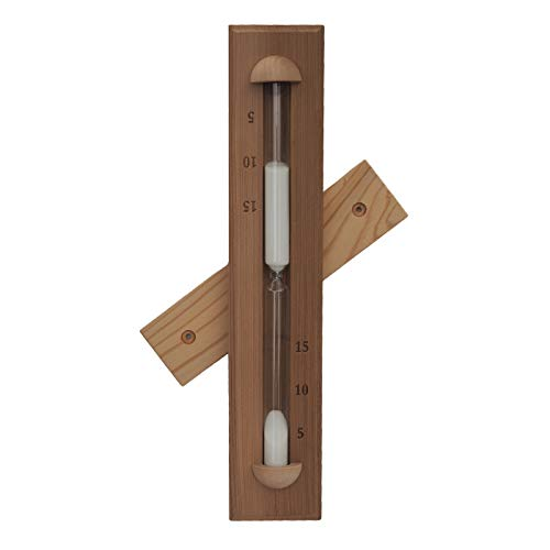 HSE Deluxe Cedar Wall-Mounted Rotating Sauna Sand Timer-15 Minutes-Choose Your Sand Color (15 Minutes, White)