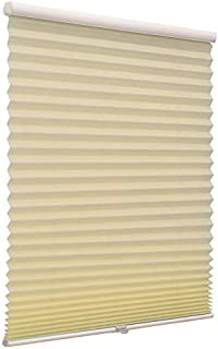 Cordless Pleated Window Shades, Free Stop Custom Made Any Size from 20-78inch Wide Light Filtering UV Protection Beige Window Blinds, 20