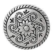 Handarbeit-Lieblingsladen Metallknöpfe Ösenknöpfe 20 Stück mit Blumen-Muster antiksilber Ø ca. 15mm
