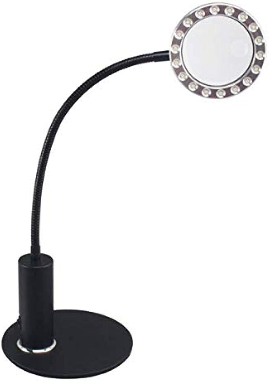 Schreibtischlampe Led 2w Helle LED Augenpflege Buch Licht 3x5x Acryl Vergrerungslesung Nachttischlampe Base Mit Schalter Flexible Einstellbar Schwanenhals Tischlampe Mit DC 5 V USB Kabel,schwarz