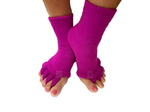 Triim Fitness Toe Separator Yoga Gym Sports Massage Socks for Foot Alignment, Great for Sore Feet and Diabetics with Free Exercise Guide! (Fuchsia)