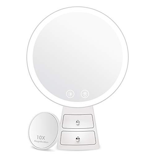 Auxmir Kosmetikspiegel mit LED Licht, 2 Kleinen Schubladen, Schminkspiegel mit 3 Lichtfarben und Touchschalter, Tischspiegel mit USB Stromversorgung, Dimmbar Einstellbar Schwenkbar