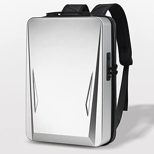 Kfaifa Zaino Rigido Impermeabile con Blocco Password con Porta di Ricarica USB Borsa da Lavoro Zaino da Lavoro Borsa da Lavoro Zaino da Scuola (Color : Silver, Size : 17.3 inch)