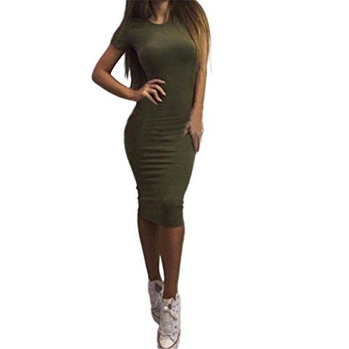 TWBB Kleid Damen, Arbeiten Sie reizvolles festes kurzes Hülsen dünnes Kleid O Ansatz Kleid Kurzschluss Hülsenkleid um (S, Grün)