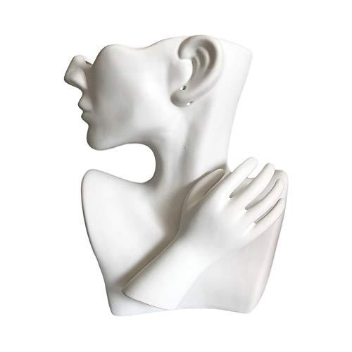 BUICCE Moderne Kreativität Vasen Deko Mit Vase Gesicht Statue Weiss Keramik Weiße Blumentopf Kopf Gross für Pampasgras Wohnzimmer Schlafzimmer Getrocknete Künstliche Blumen.
