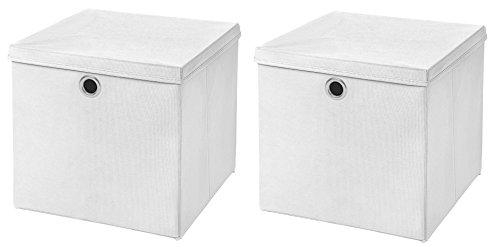 Stick&Shine 2X Aufbewahrungs Korb Weiß Faltbox 33 x 33 x 33 cm Regalkorb faltbar mit Deckel