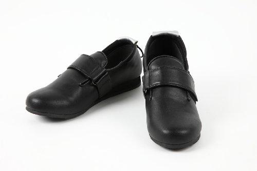 施設内 室外 介護シューズ うららか 合皮ベルトシューズ U-1 サイズ20.5~27.0 高齢者 シルバー 靴 (25.5〜26.0(LL), 黒)