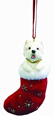 """Westie Christmas Stocking Ornament with """"Santa's Little Pals"""" Hand Painted and Stitched Detail by E&S Imports, Inc"""