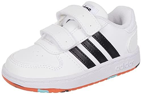 adidas Hoops 2.0 CMF, Basketball Shoe, Cloud White/Core Black/True Orange, 27 EU
