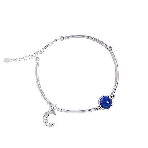 QKL Mode Silber Und Aquamarin Mond Armband Frauen, Einfache Persönlichkeit Armband