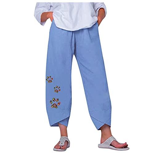 SHAOOP Pantalones Harem de Moda para Mujer Pantalón Casuales de Cintura Elástica con Estampado de Pata de Gato y Perro con Bolsillos
