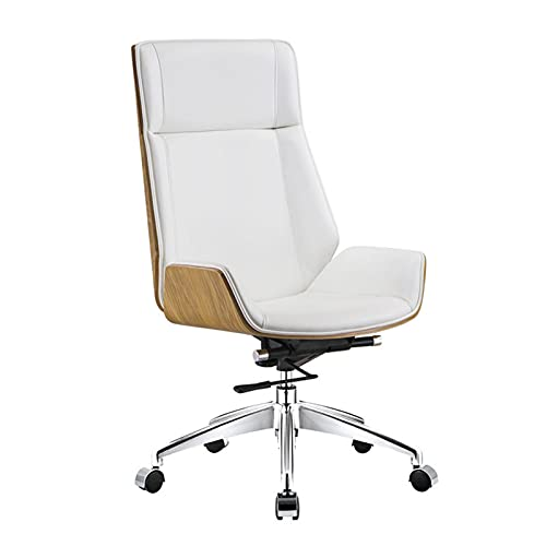 QJN Silla de oficina ergonómica, de cuero con respaldo alto, moderno escritorio de ordenador y silla con cintura trasera (para administración o uso en la oficina), color blanco