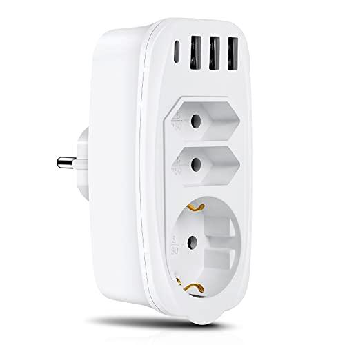 Komake Enchufe USB, Adaptador de Enchufe 7 en 1 con 3 enchufes, 3 Puertos de Cargador USB y 1 Puerto Tipo C, protección contra Cortocircuitos y sobrecorriente para el hogar, la Oficina y los Viajes