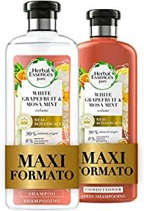 Herbal Essences Pompelmo Bianco e Menta di Mosa: Shampoo 400 ml + Balsamo 360 ml, Dona...